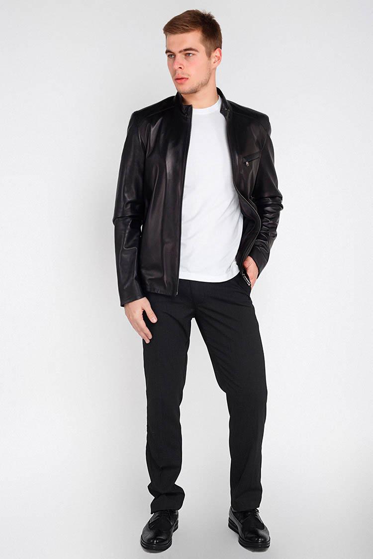 Куртка мужская из натуральной кожи черная, модель F-405