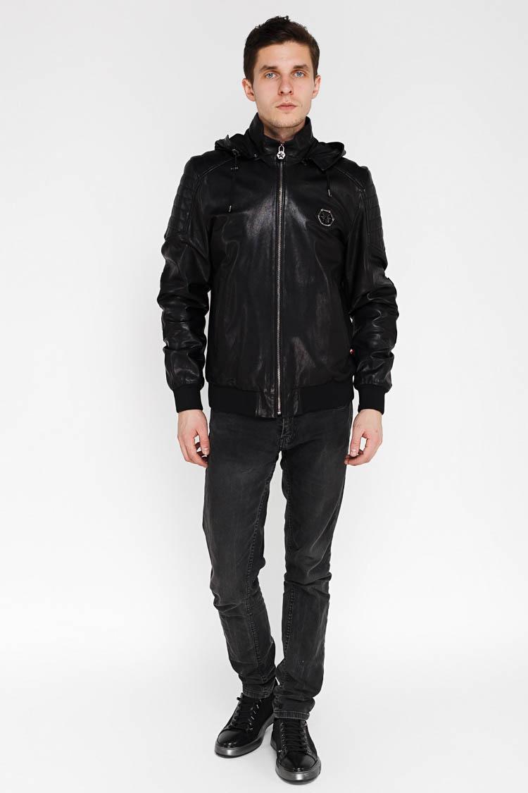 Куртка мужская из натуральной кожи черная, модель EZ-241