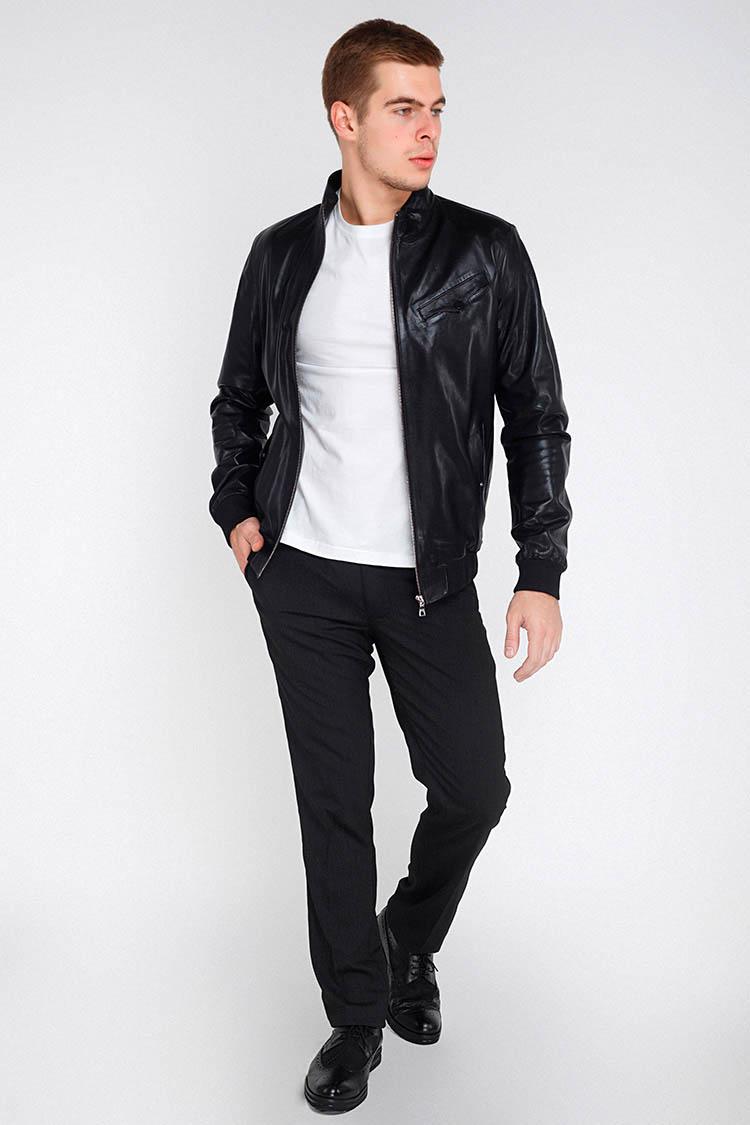Куртка утепленная мужская из натуральной кожи черная, модель GK-1721