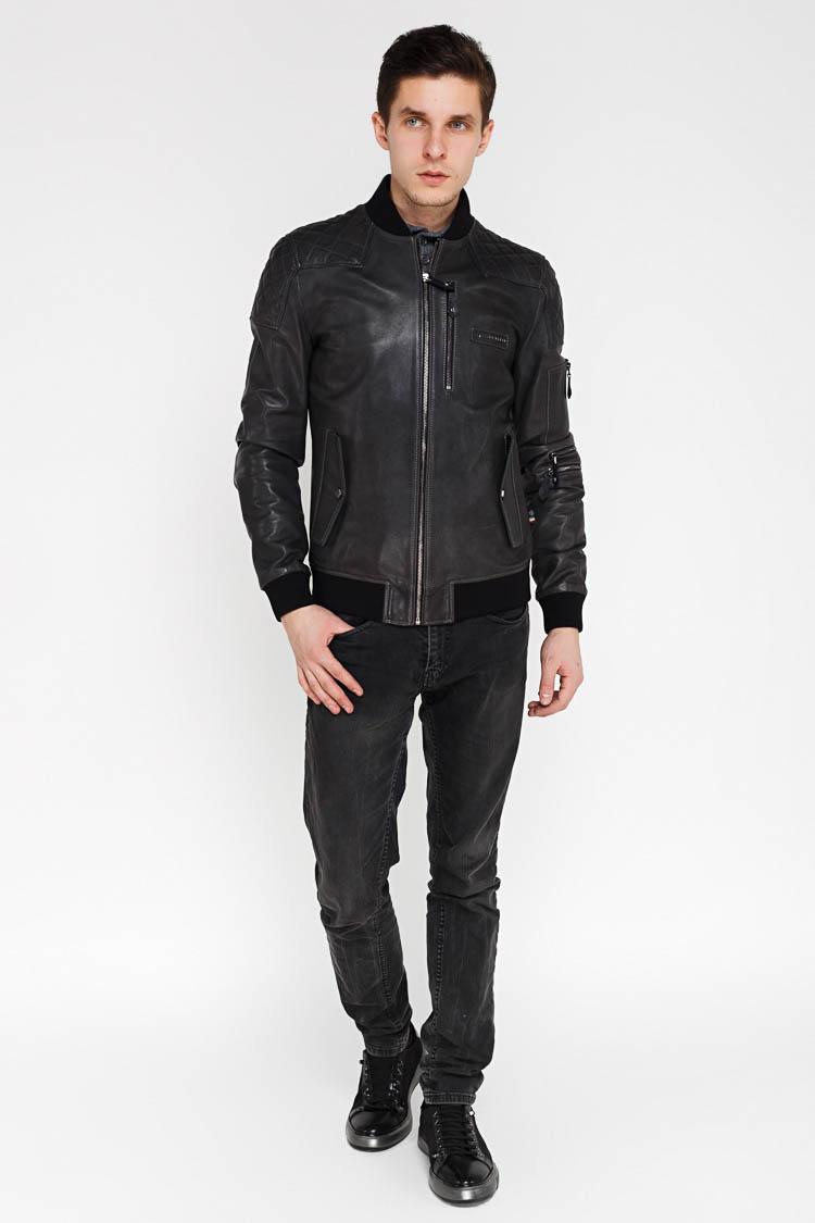 Куртка мужская из натуральной кожи серая, модель EZ-245