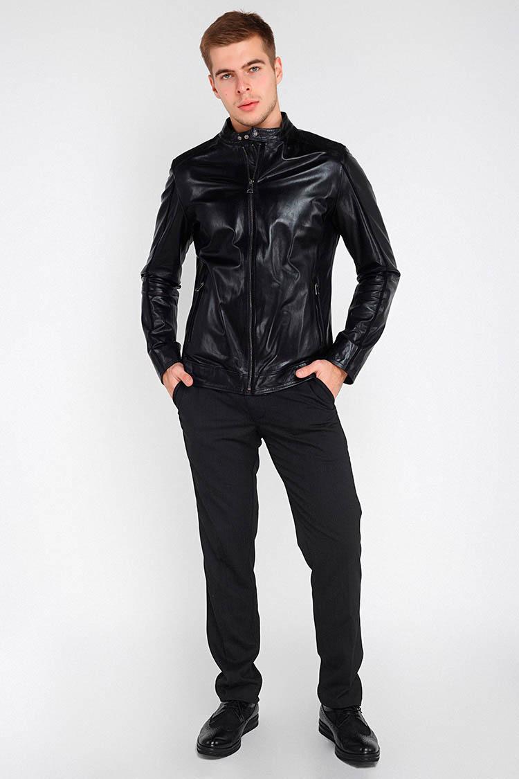 Куртка мужская из натуральной кожи черная, модель GK-1709