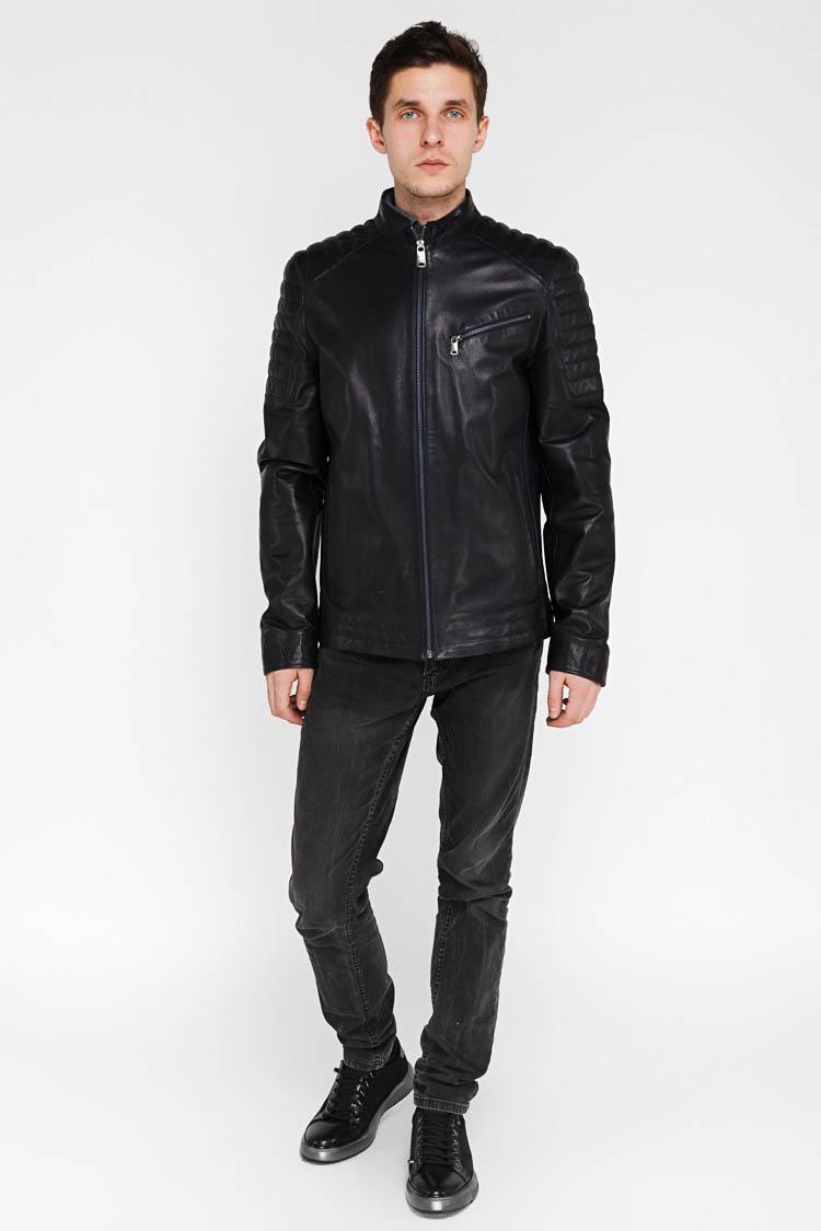 Куртка мужская из натуральной кожи синяя, модель F-396