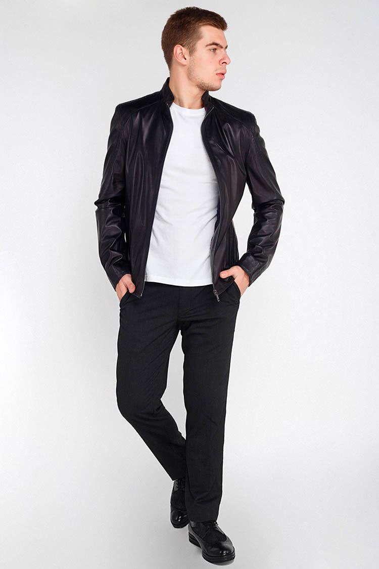 Куртка мужская из натуральной кожи синяя, модель F-345