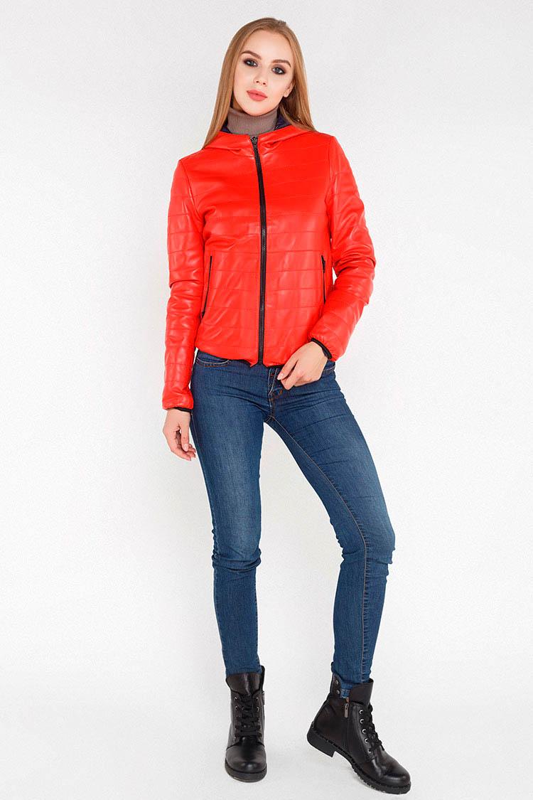 Куртка женская из натуральной кожи красная, модель RC-99074/двухст.
