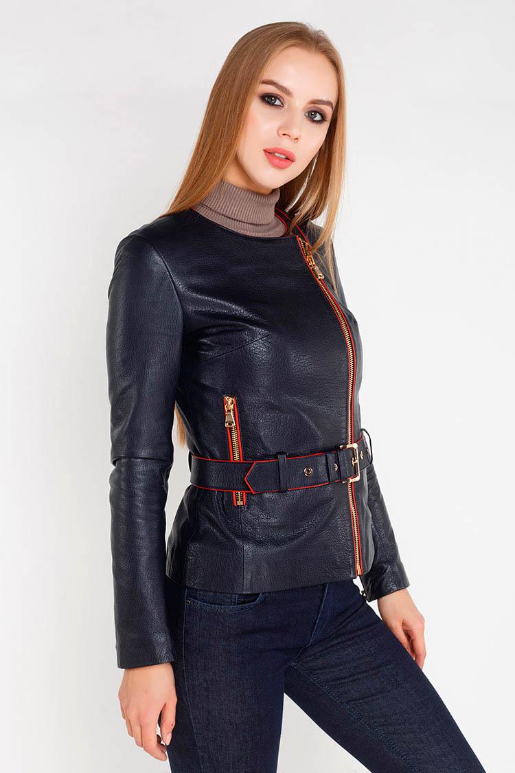 Куртка жiноча з натуральної шкіри синя, модель RC-05