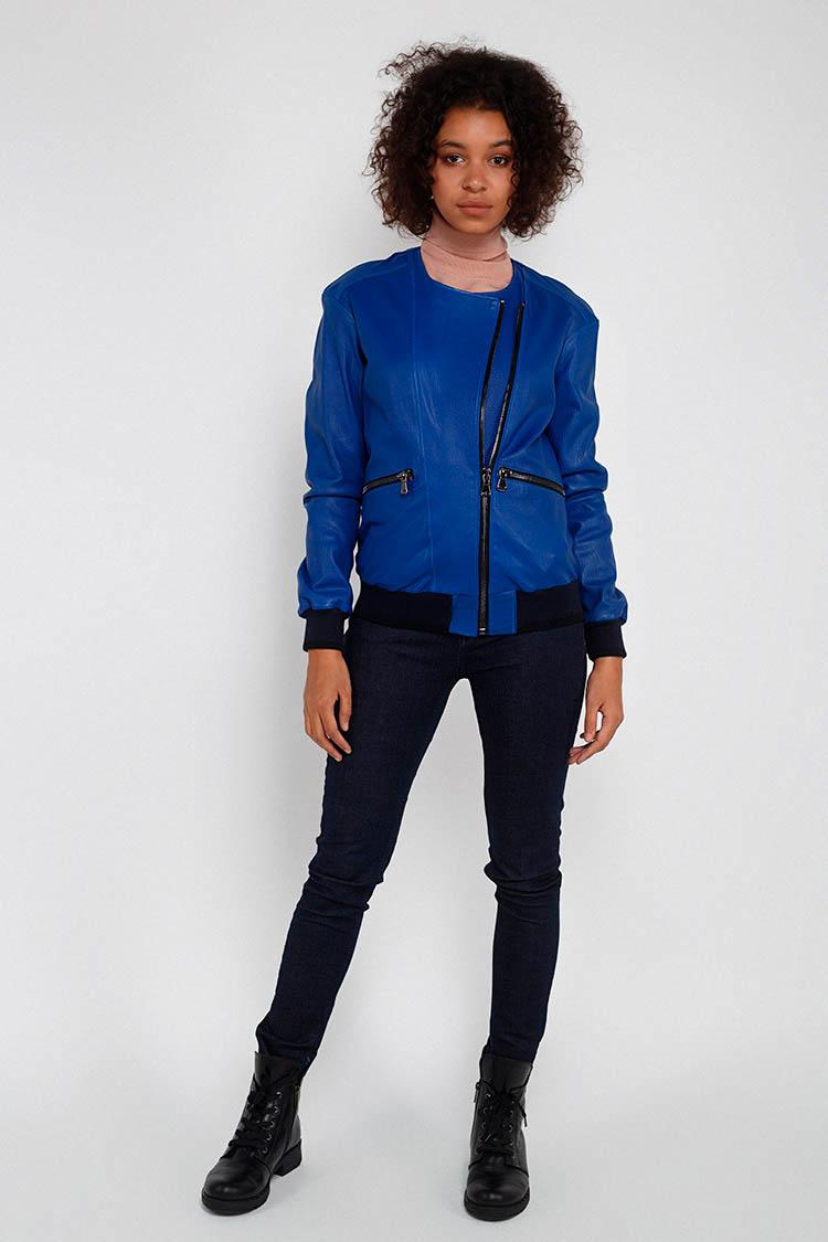 Куртка жiноча з натуральної шкіри синя, модель RC-32120