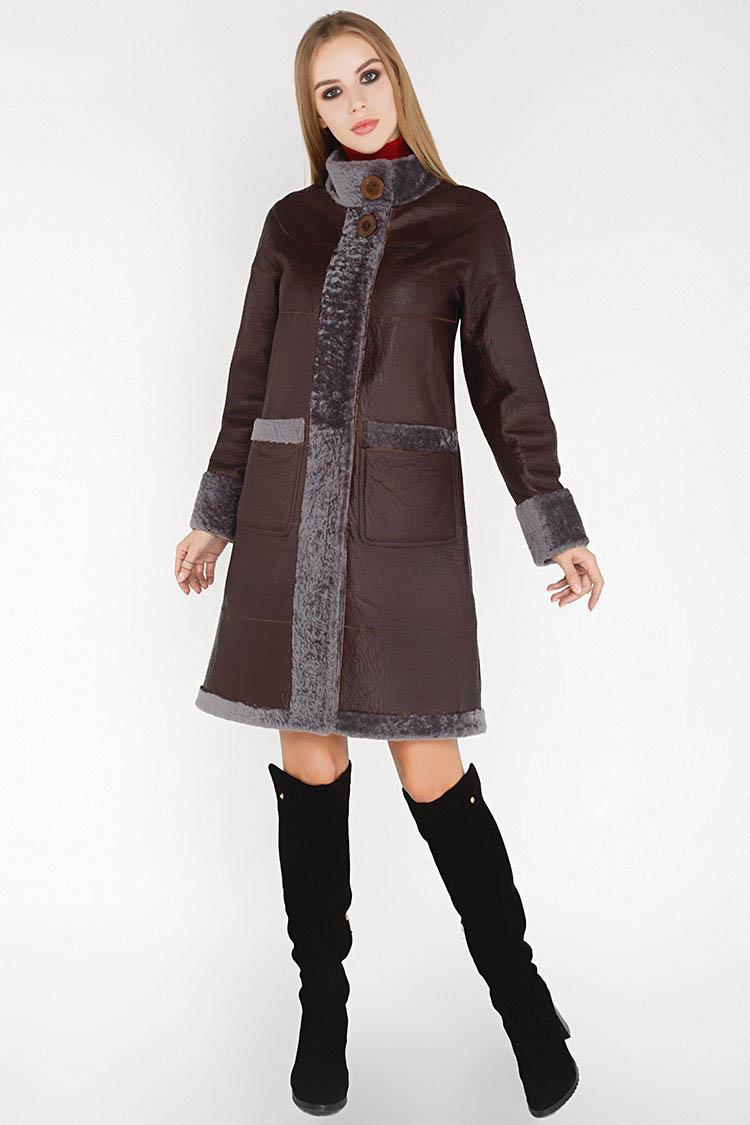 Дубленка женская из натуральной овчины коричневая, модель 1065/двухстор