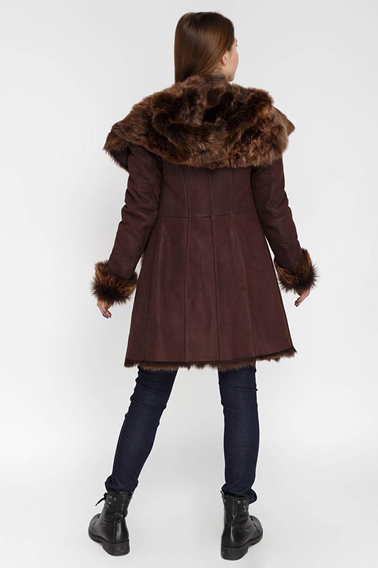 Дубленка женская из натуральной овчины коричневая, модель 924/T