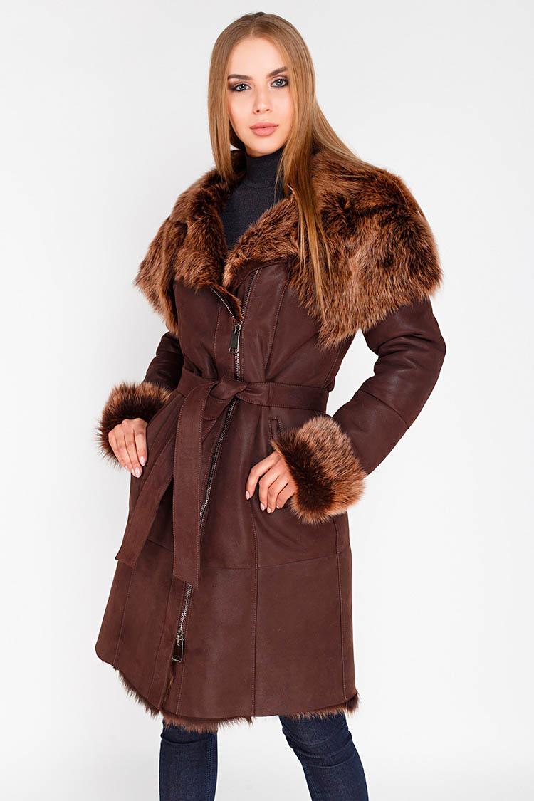 Дубленка женская из натуральной овчины коричневая, модель 1032/T