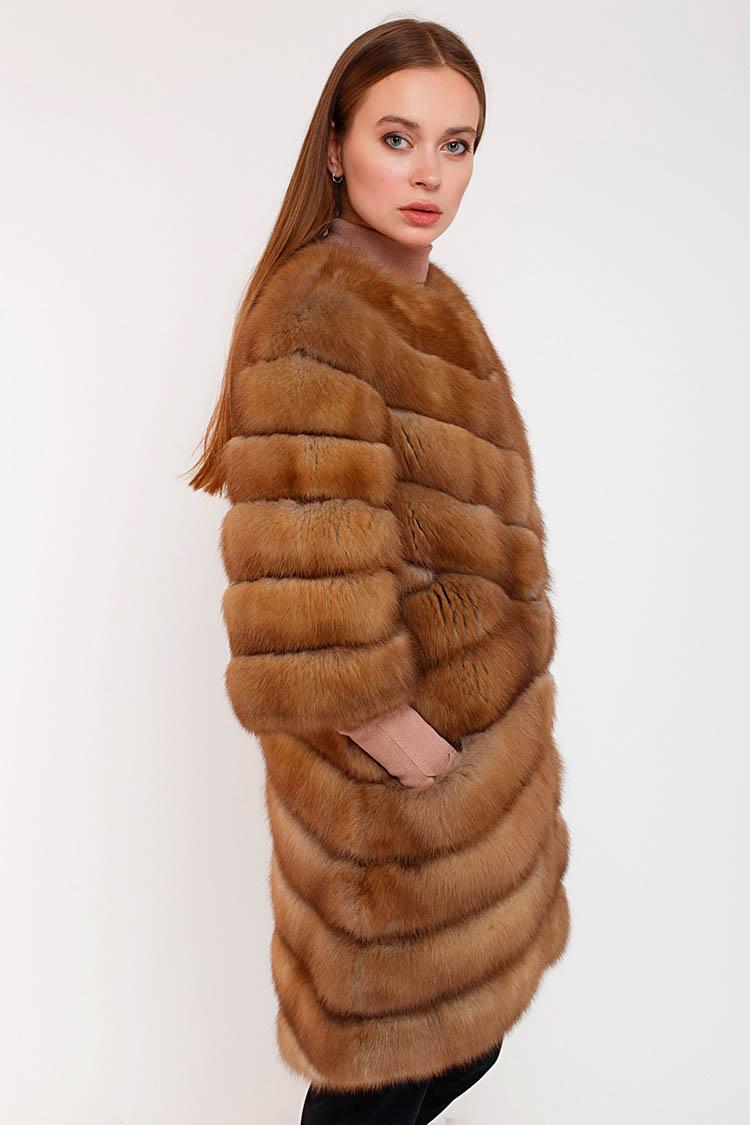 Шуба женская из куници коричневая, модель 8028