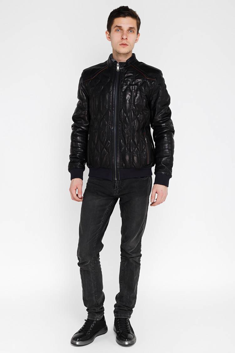 Куртка мужская из натуральной кожи синяя, модель F-382/2