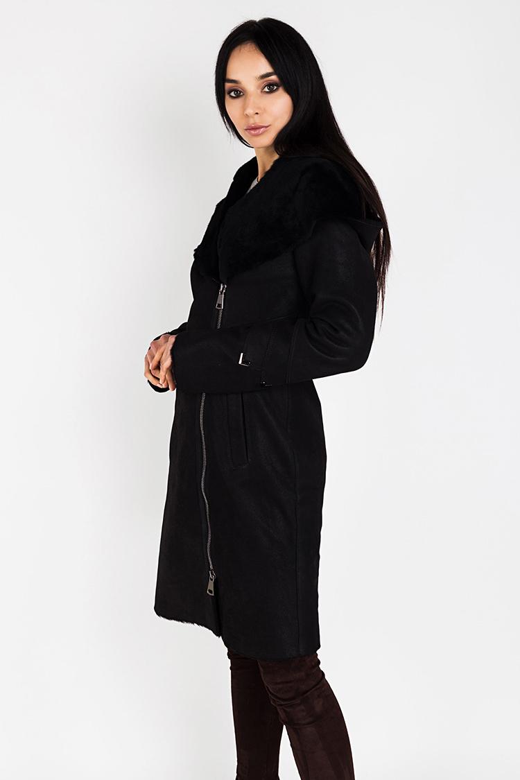 Дубленка женская из натуральной овчины черная, модель VVL/2
