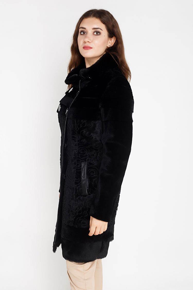 Шуба женская из пони черная, модель 10-2932