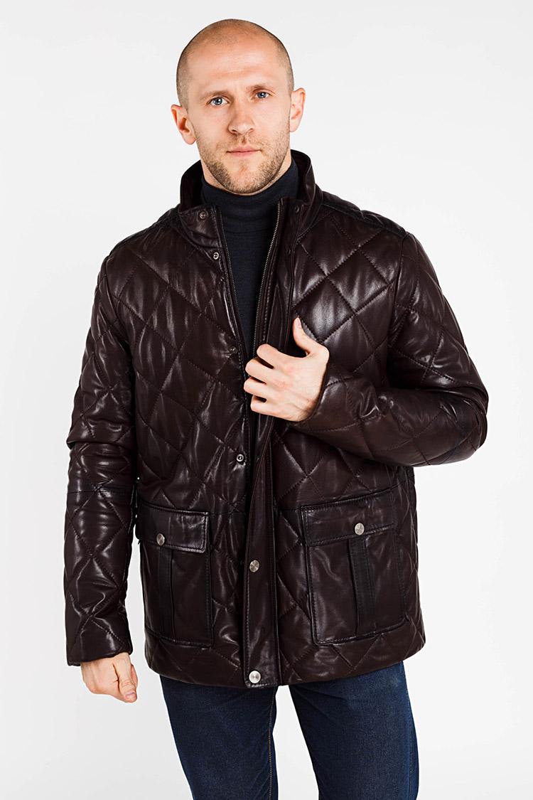 Куртка чоловіча з натуральної шкіри коричнева, модель AS-241