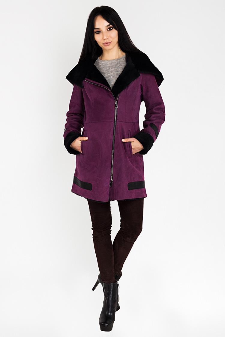 Дубленка женская из натуральной овчины фиолетовая, модель 1302
