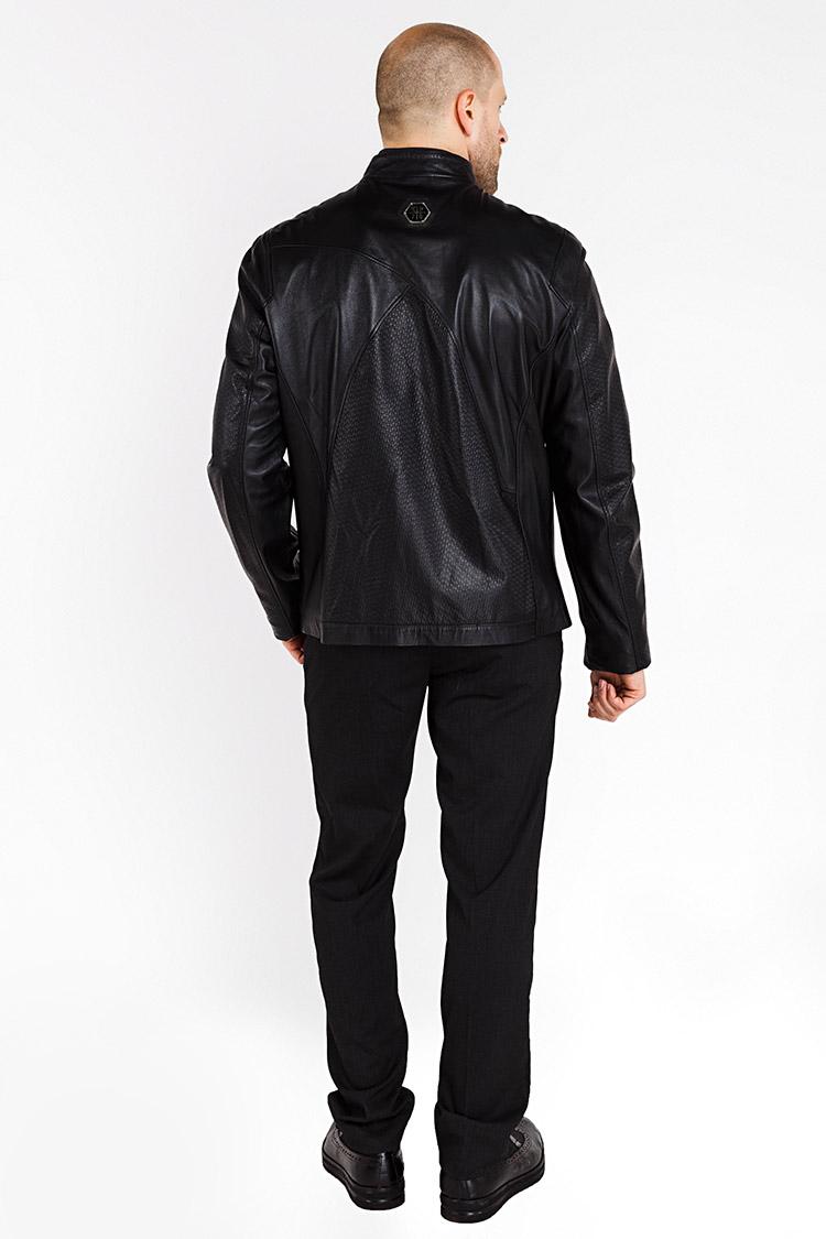 Куртка чоловіча з натуральної шкіри чорна, модель GK-077