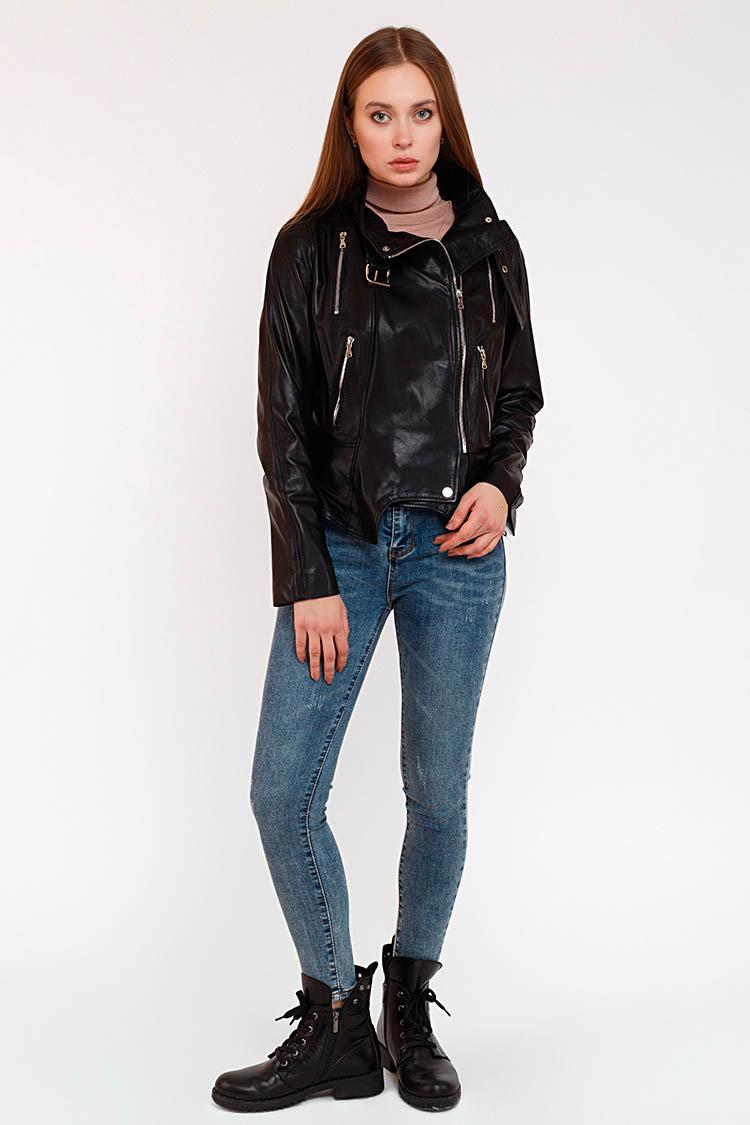 Куртка женская из натуральной кожи черная, модель B-790
