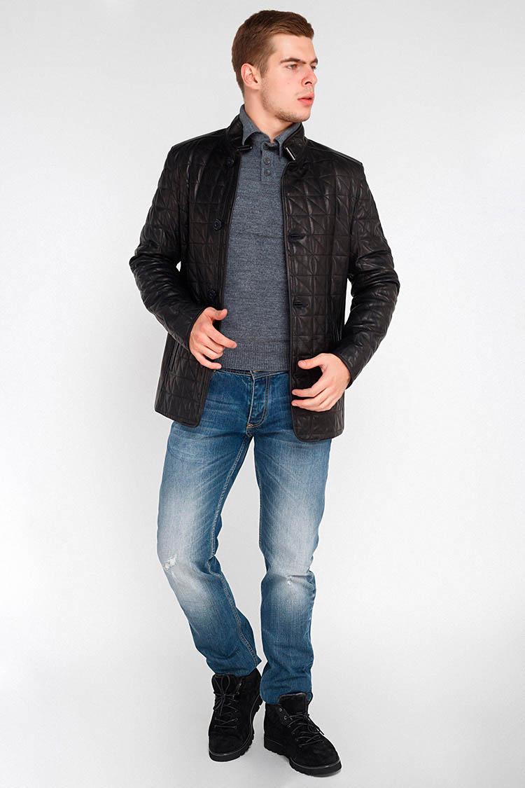 Куртка мужская из натуральной кожи черная, модель F-165