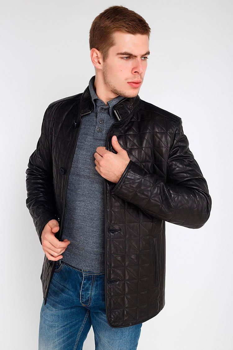 Куртка чоловіча з натуральної шкіри чорна, модель F-165
