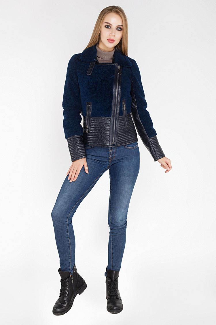 Дубленка женская из кёрли синяя, модель 2419