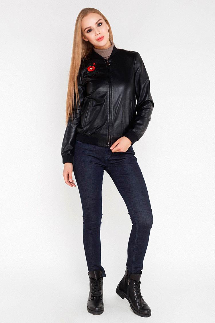 Куртка женская из натуральной кожи черная, модель 1550