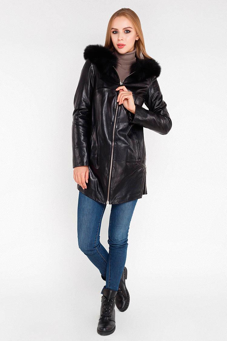 Куртка утеплена жiноча з натуральної шкіри чорна, модель 8906/KPS