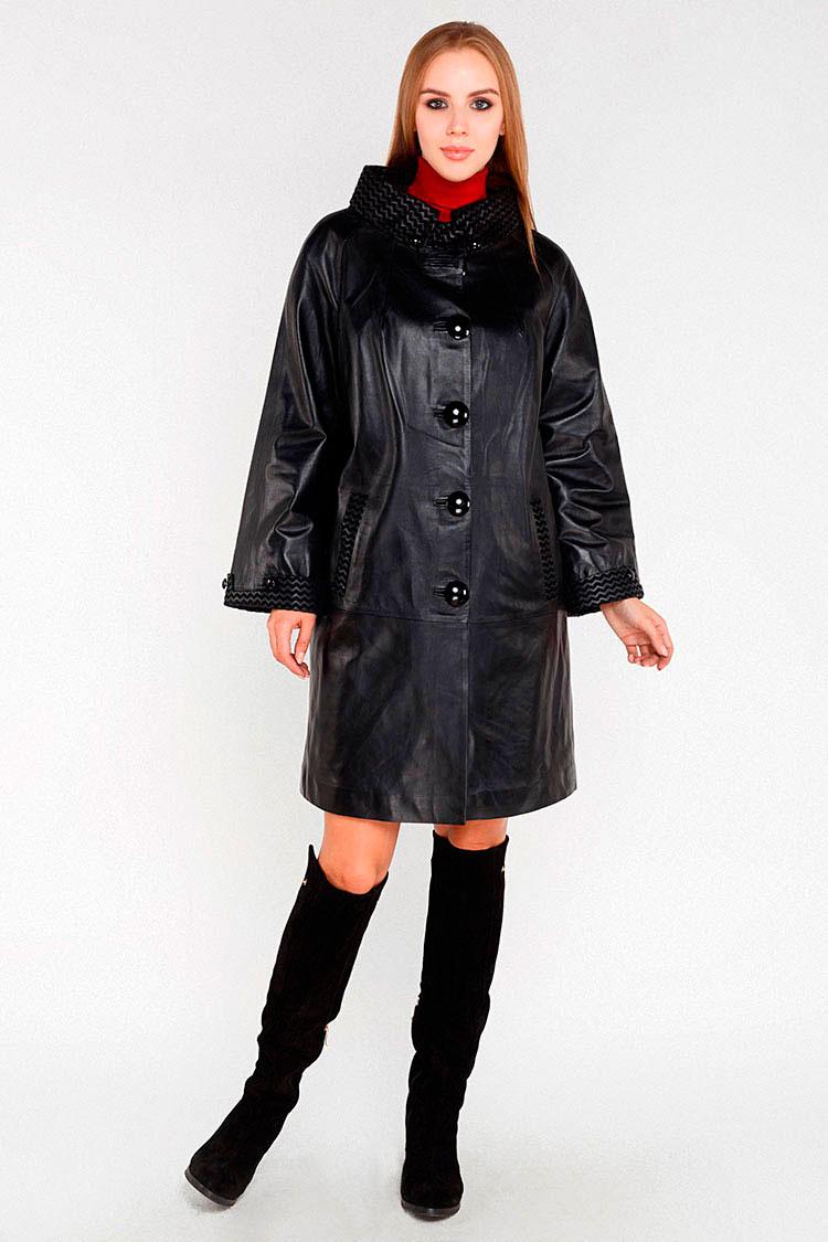 Куртка подовжена жiноча з натуральної шкіри чорна, модель M-570