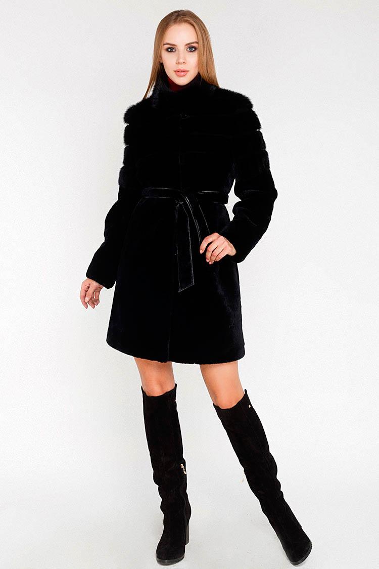 Шуба женская из мутона черная, модель 7005