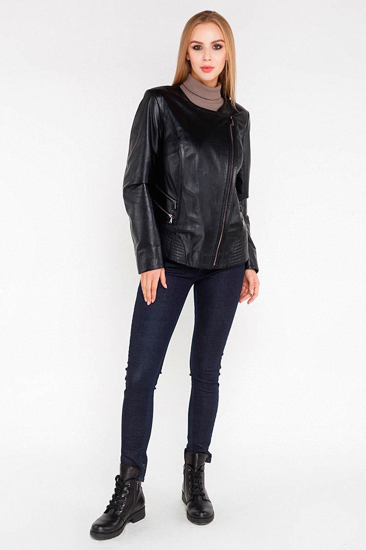 Куртка жiноча з натуральної шкіри чорна, модель M-804
