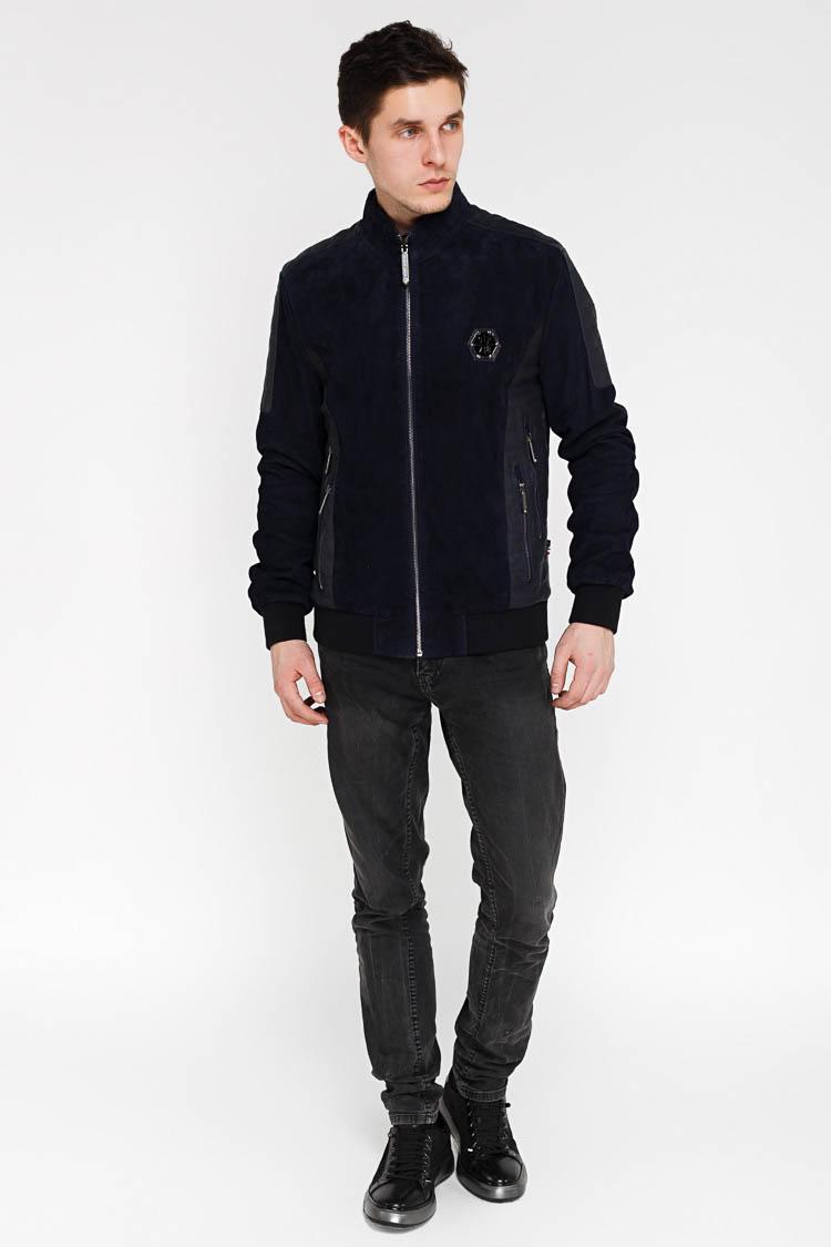 Куртка мужская из натуральной кожи синяя, модель EZ-219