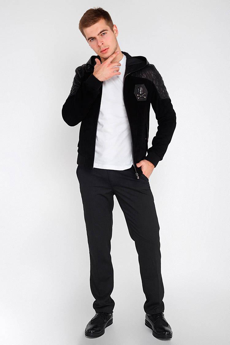 Куртка чоловіча з натуральної шкіри чорна, модель EZ-209