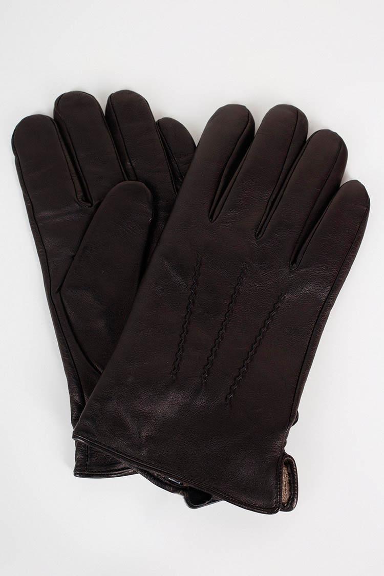 Рукавички чоловiчi з натуральної шкіри чорні, модель 105