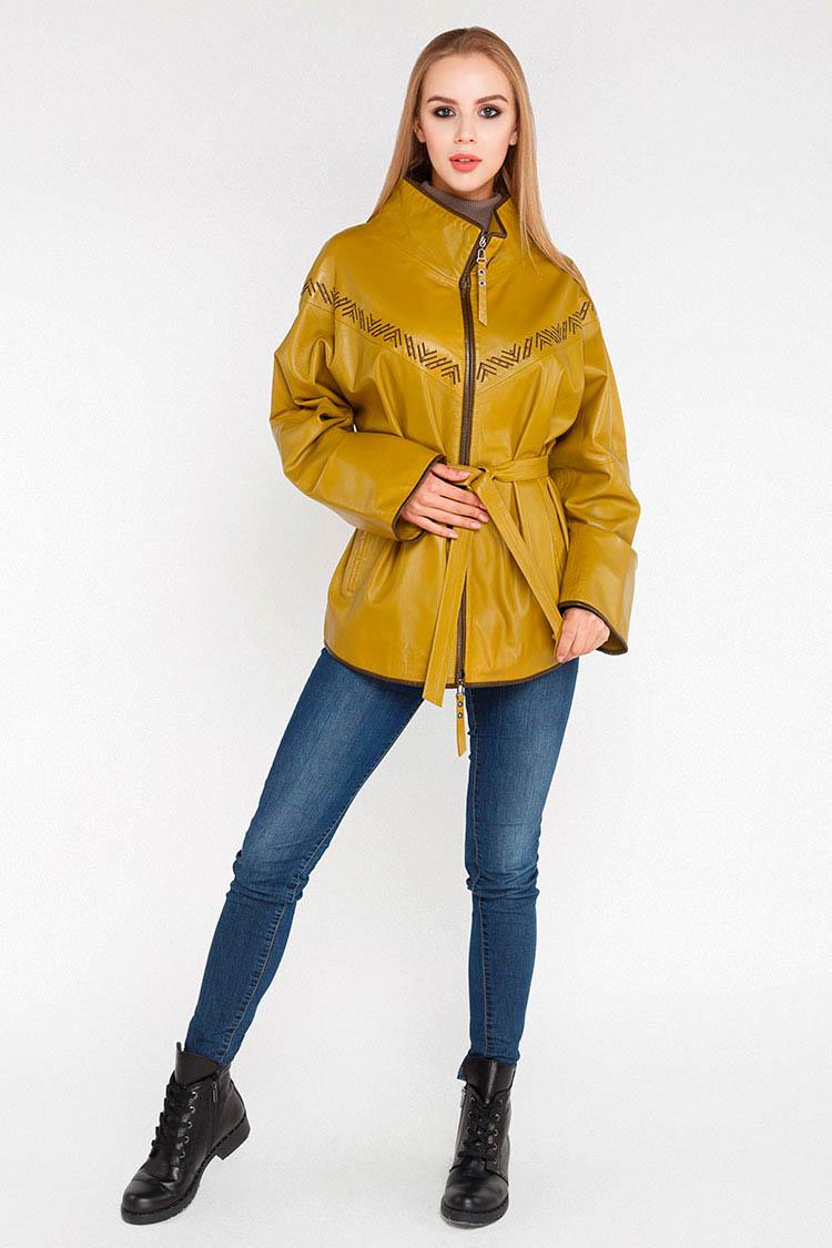 Куртка женская из натуральной кожи зеленая, модель B-90