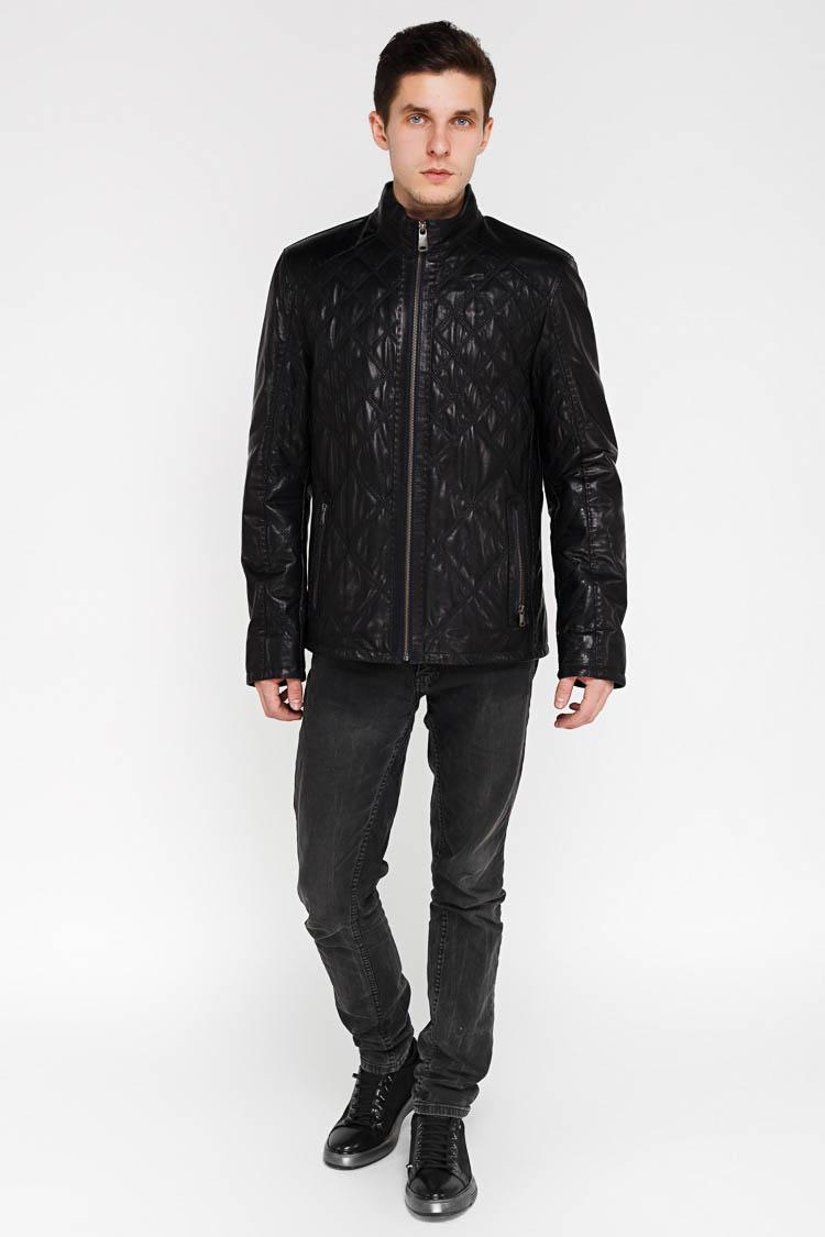 Куртка мужская из натуральной кожи синяя, модель F-370