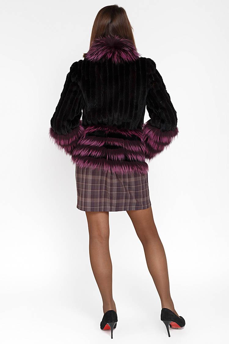 Шуба женская из норки черная, модель BK-1718