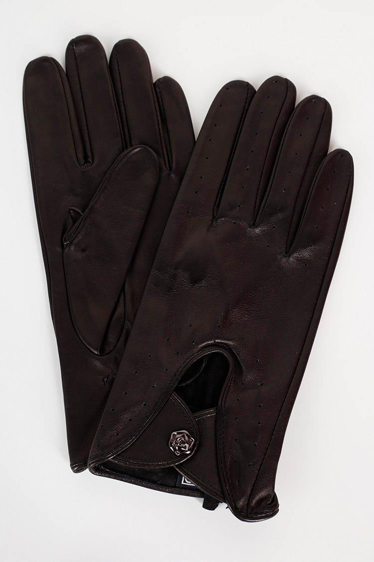 Перчатки женские из натуральной кожи черные, модель 1720