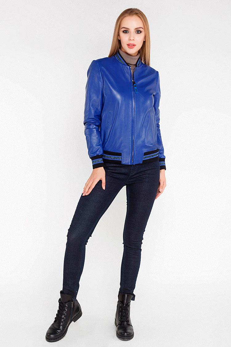 Куртка женская из натуральной кожи синяя, модель 1550/1
