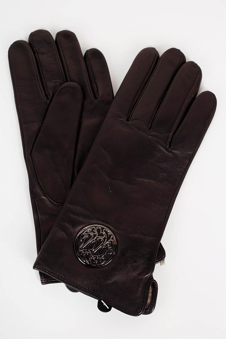 Перчатки женские из натуральной кожи черные, модель 17013