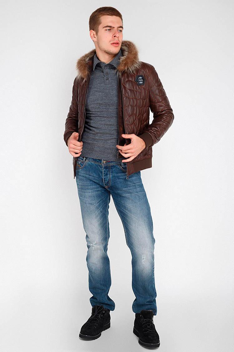Куртка утепленная мужская из натуральной кожи коричневая, модель GK-7202