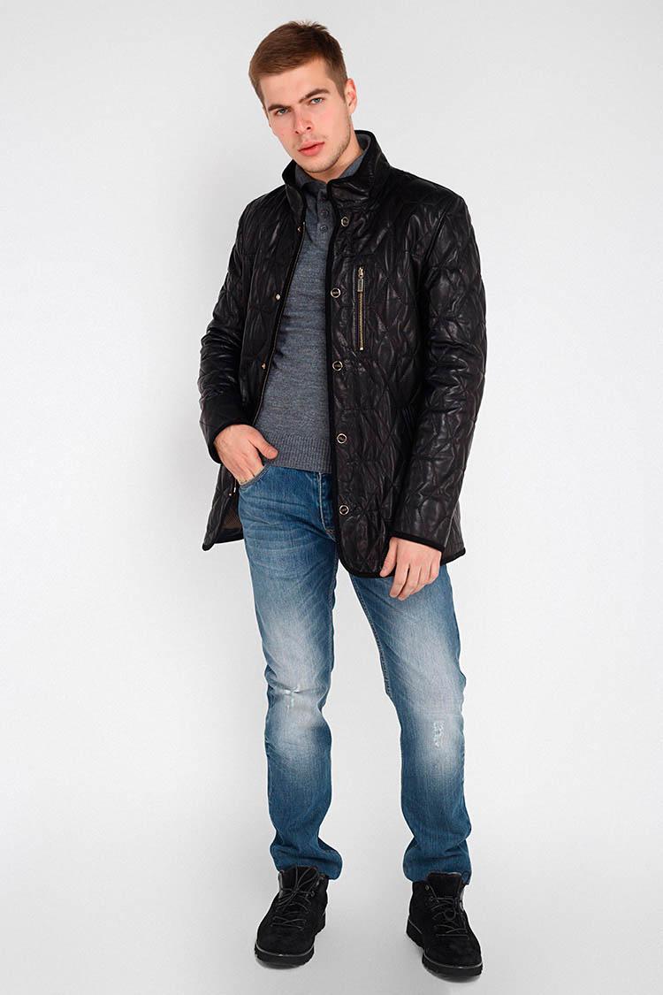 Куртка мужская из натуральной кожи черная, модель ZILLI