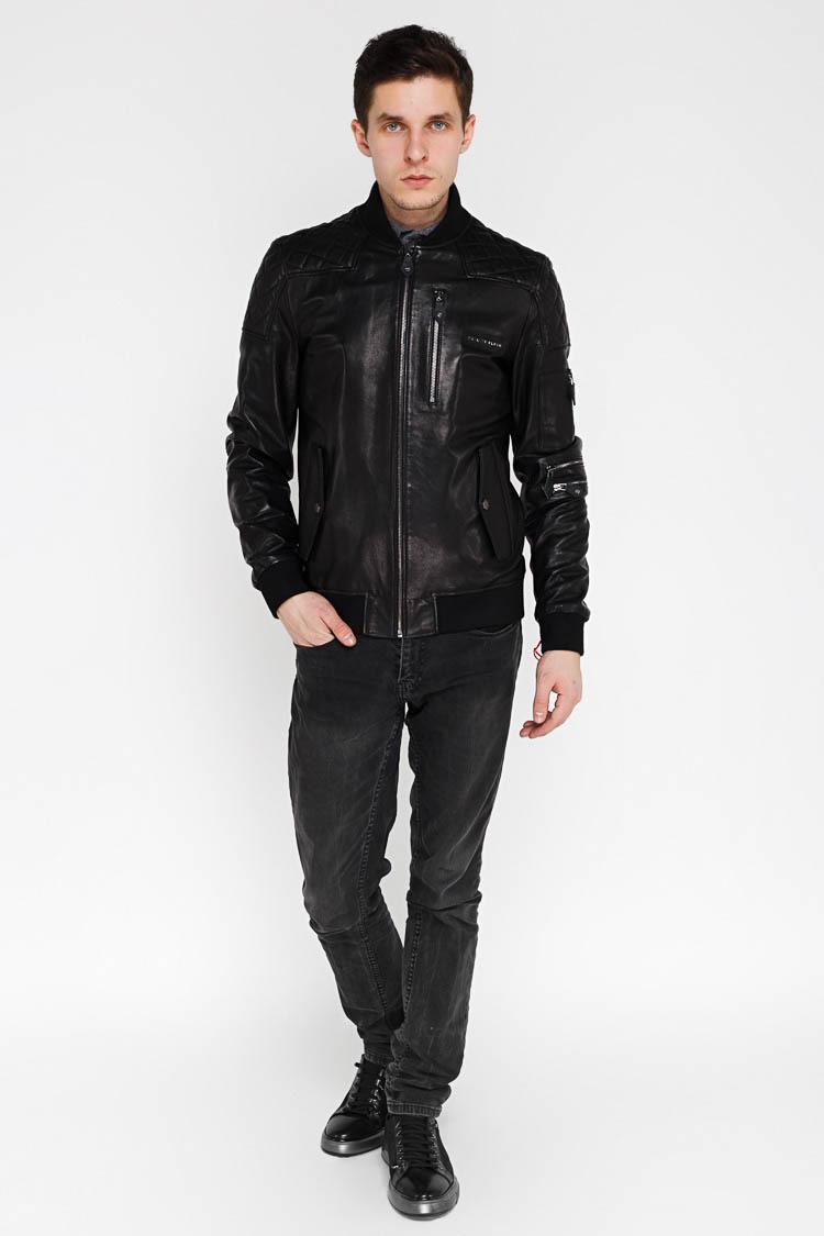 Куртка мужская из натуральной кожи черная, модель EZ-245