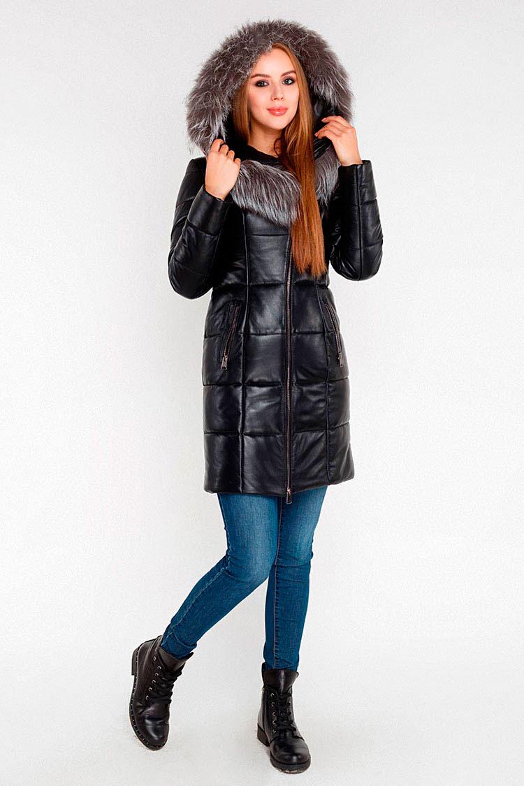 Куртка жiноча з натуральної шкіри чорна, модель 5930