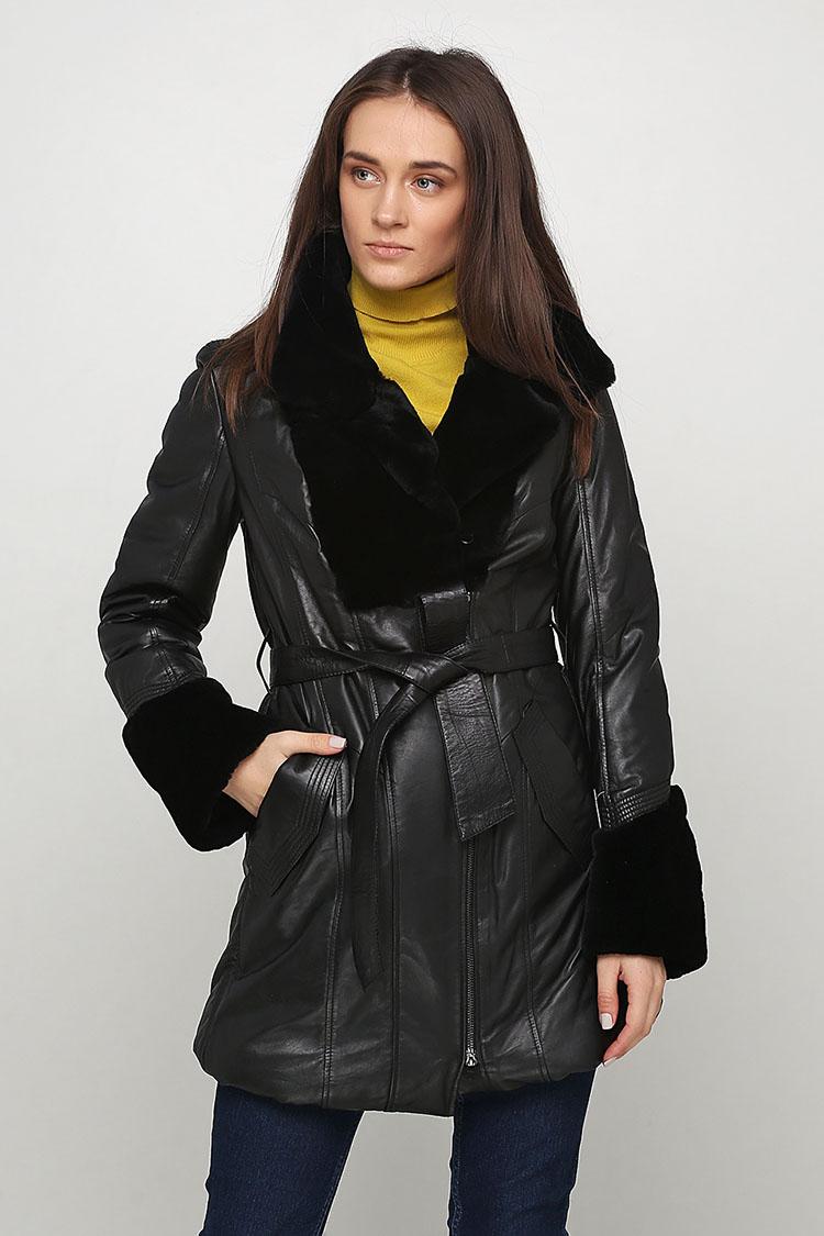 Куртка женская из натуральной кожи черная, модель BK-BU-1088
