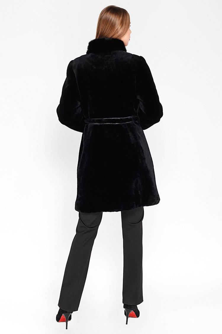 Шуба женская из мутона черная, модель 7022