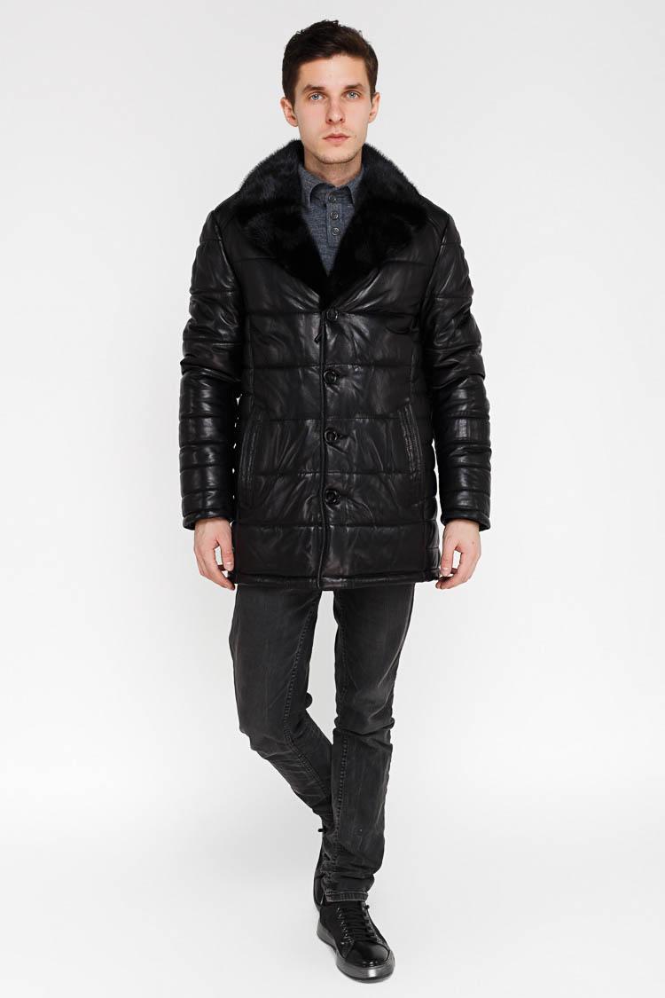 Куртка утепленная мужская из натуральной кожи черная, модель SF 52792