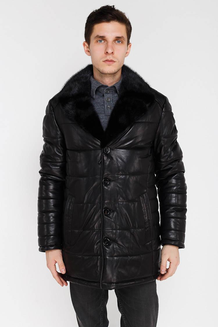 Куртка чоловіча з натуральної шкіри чорна, модель SF 52792