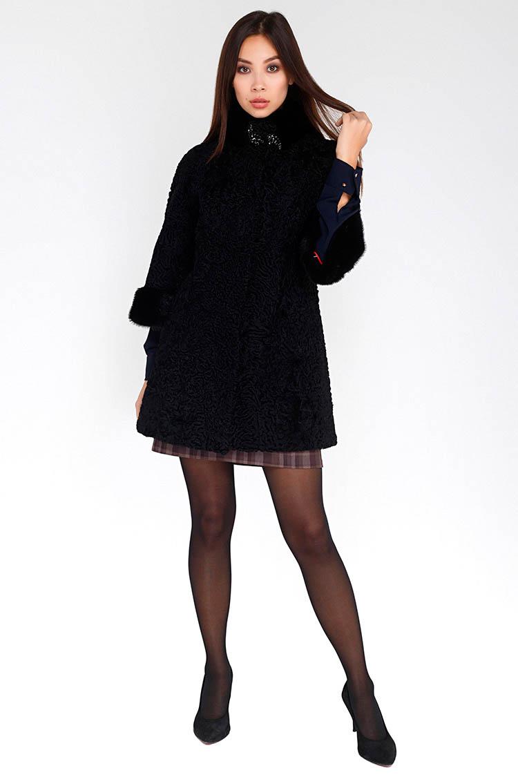 Шуба женская из каракуля черная, модель 5944/1