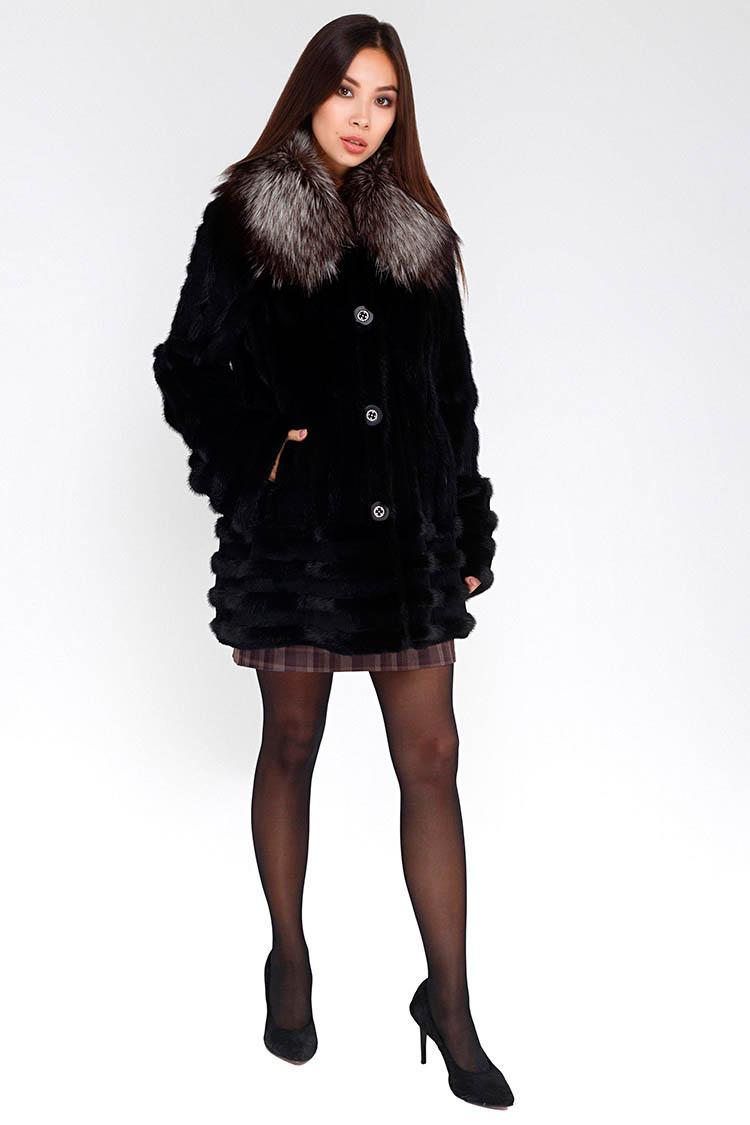 Шуба женская из рекса черная, модель 2399