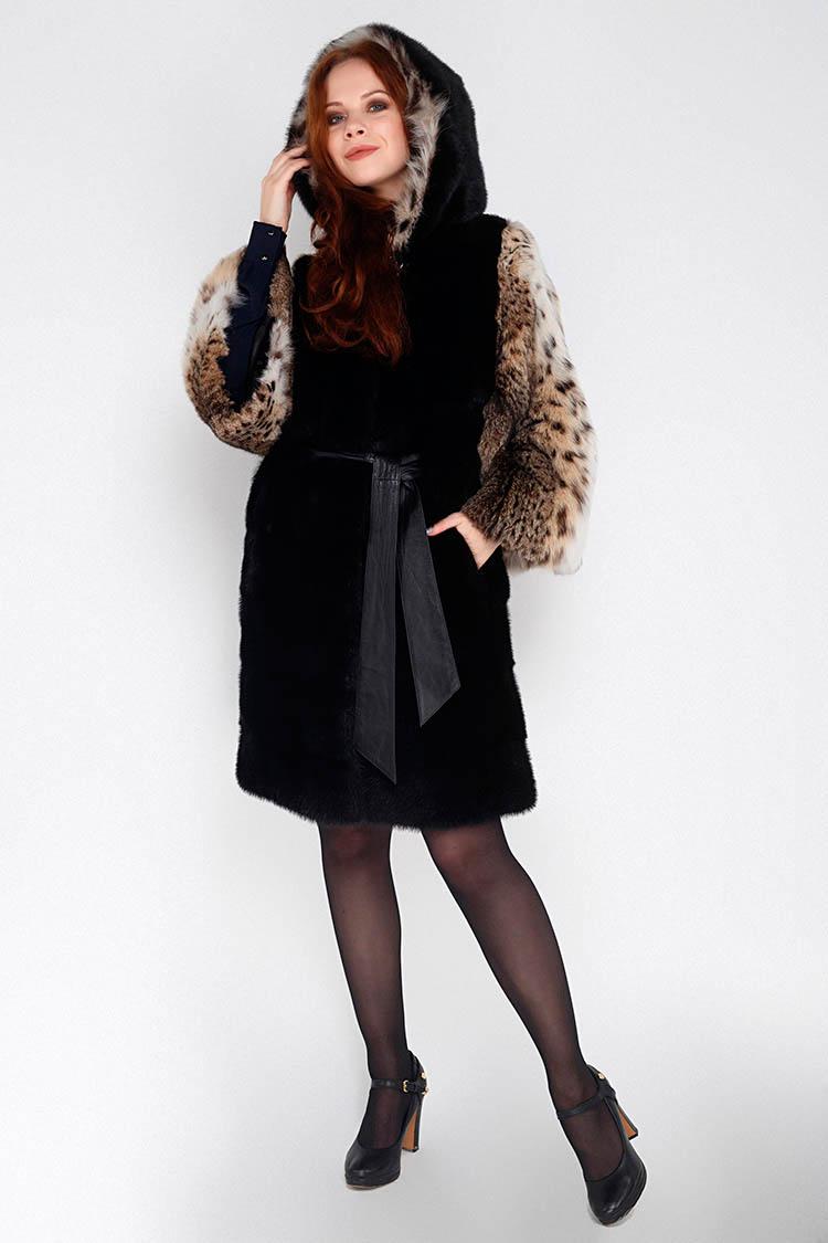 Шуба женская из рыси черная, модель EST-R/KPS