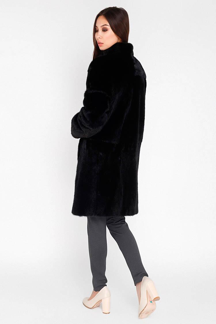 Шуба женская из норки черная, модель 9177